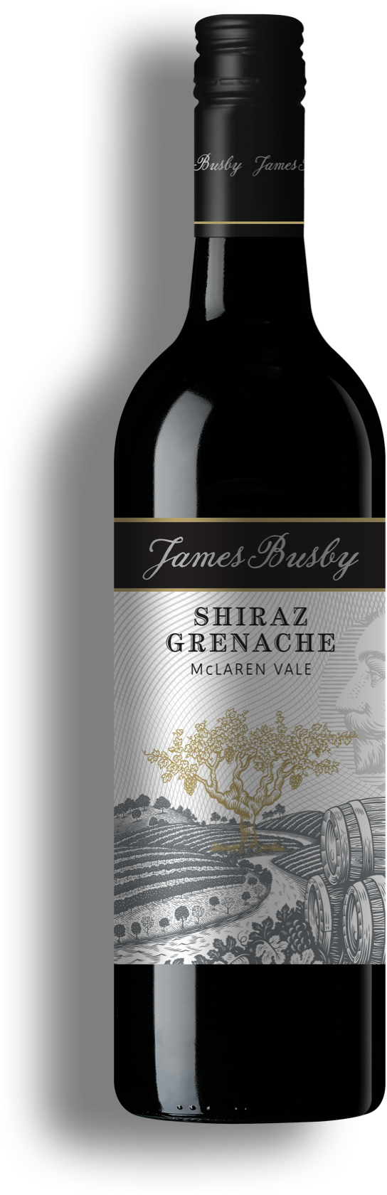 shiraz grenache wine bottle